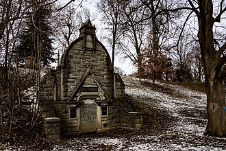 Oakwood Cemetery (Syracuse, New York) - Gussman Mausoleums built in 1989, photo by Charles Poag (2018)
