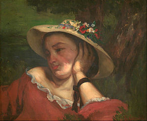 Young Ladies on the bank of the Seine – fragment of a painting (Woman with Flowers on Her Hat)