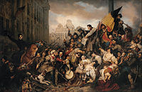 Gustave Wappers - Episode of the September Days 1830, on the Grand Place of Brussels - Google Art Project.jpg