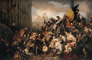 Episode of the September Days 1830, on the Grand Place of Brussels