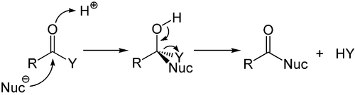 Mechanismus des säurekatalysierten Additions-Eliminierungsmechanismus.