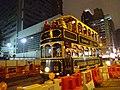 HK Wan Chai night Johnston Road Hongkong Tramways number 28 green Dec-2015 DSC.JPG