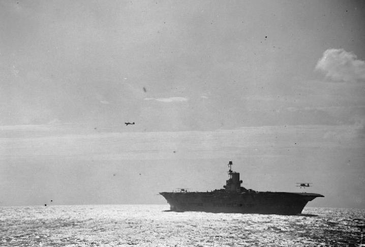 HMS Ark Royal planes landing