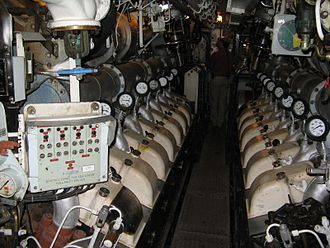 Oberon-class submarine - Engine compartment on HMS Otus, twin V16 diesel engines