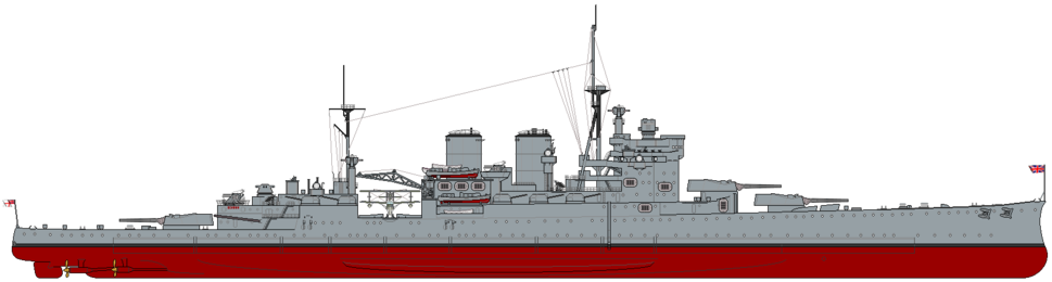 HMS Renown (1939) profile drawing