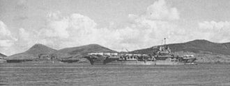 HMS Victorious (R38) - HMS Victorious and USS Saratoga at Nouméa, 1943