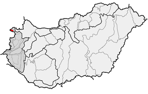 Sopron Mountains - Sopron Mountains (in red) within physical subdivisions of Hungary