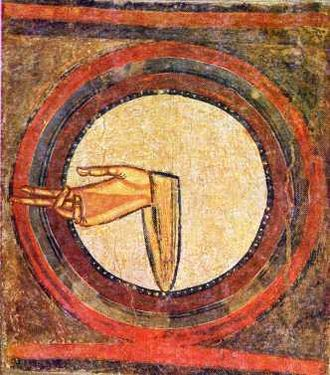 Hand of God (art) - The hand as an isolated motif. Fresco from Sant Climent de Taüll, Catalonia, Spain.