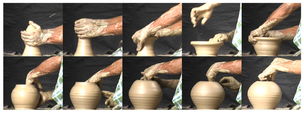 Hand positions used during wheel-throwing pottery