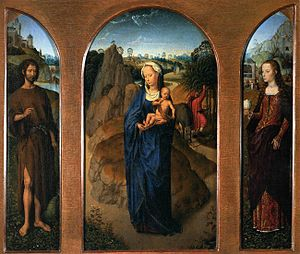 Rest on the Flight into Egypt - Hans Memling triptych, 1475–1480, Louvre