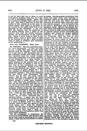Hansard - Sample of Hansard from the Canadian House of Commons, 1895. Shows sample of several members speaking as described in the text.