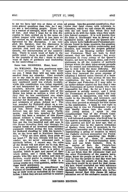 Sample of Hansard from the Canadian House of Commons, 1895. Shows sample of several members speaking as described in the text. Hansard, Canada, Dominion Parliament (July 17, 1895).jpg
