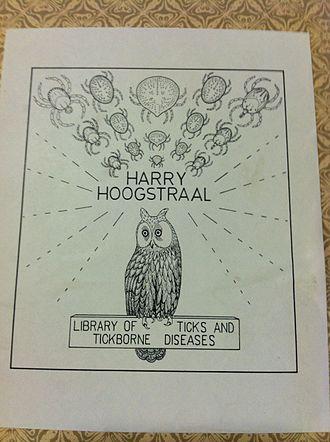 Harry Hoogstraal - Bookplate of entomologist Harry Hoogstraal, featuring an owl and ticks