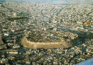 citadel and archaeological settlement hill in Arbil, Iraq