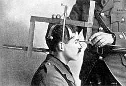 "A ""head-measurer"" tool designed for anthropological research in the early 1910s."