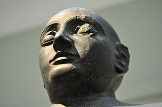 Gudea - Head of a statue, probably of Gudea, c. 2130 BCE, from an unknown location in Mesopotamia (British Museum, London).