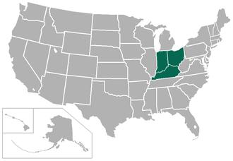 Heartland Collegiate Athletic Conference - Image: Heartland USA states