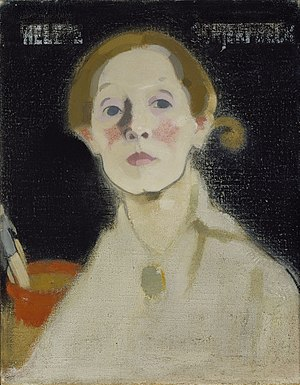 Helene Schjerfbeck - Self-portrait with Black Background. Oil on canvas, 1915