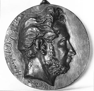 Louis Pierre Henriquel-Dupont - Louis-Pierre Henriquel-Dupont on a bronze medal by David d'Angers.