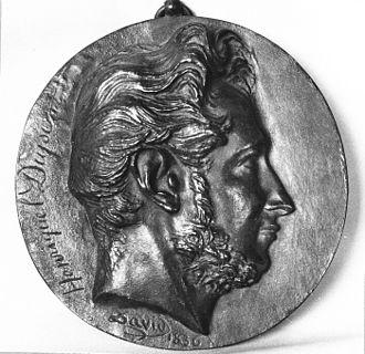 Louis Pierre Henriquel-Dupont - Louis-Pierre Henriquel-Dupont on a bronze medal by David d'Angers.