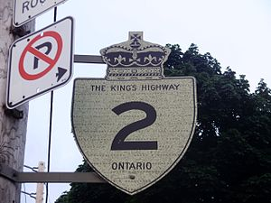 Ontario Highway 2 - A Highway 2 reassurance marker in Mimico, Toronto.