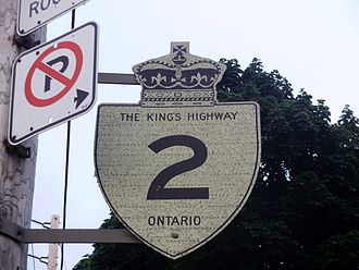 Ontario Highway 2 - An unremoved Highway 2 reassurance marker in Toronto.