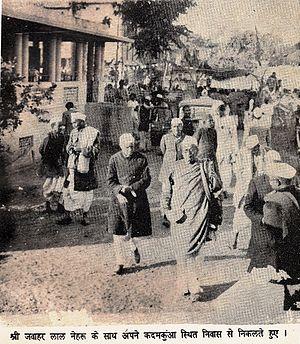 Anugrah Narayan Sinha - (LtoR)Rajendra Prasad, Jawaharlal Nehru, Dr. A. N. Sinha and Sri Krishna Singh (facing away) at Anugrah Babu's residence