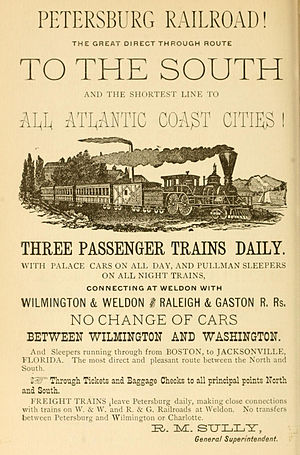 Petersburg Railroad - Late 1884 advertisement for the railroad
