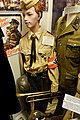 Hitlerjugend uniform; belt buckle, swastika armlet, HJ-dagger, DJ pin, Jungvolk badge, H. J. Deutsche Arbeiter-Jugend pin, steel helmet, Volkssturm poster, uniform, etc. Lofoten Krigsminnemuseum 2019-05-08 DSC00050.jpg
