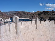 Hoover Dam, a concrete arch-gravity dam in the Black Canyon of the Colorado River.