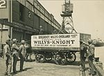 Horse and cart on wharf with crate containing the 100,000th Willys-Overland exported car, 1920 - 1929 (4361001187).jpg