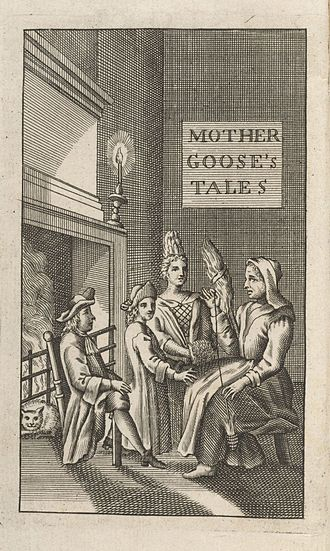 Mother Goose - Frontispiece from the only known copy of the first English translation, 1729