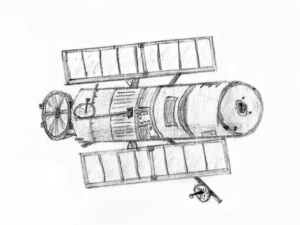 Download File:Hubble Space Telescope Sketch.jpg - Wikimedia Commons