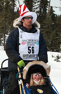 Hugh Neff and Iditarider pausing in a traffic jam on the trail (4429517265).jpg
