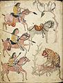 Hunting scene- three riders approaching a tiger - Serat Damar Wulan. (The Romance of Damar Wulan) (1770-1795), f.170v - BL MSS Jav 89.jpg