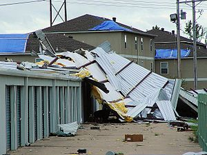 Effects of Hurricane Ike in inland North America - A self-storage warehouse building was destroyed by a tornado southwest of Cabot, Arkansas