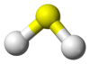 Ball-and-stick model of hydrogen sulfide