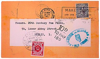 Postage due - An Irish letter with 10 pence postage to pay.