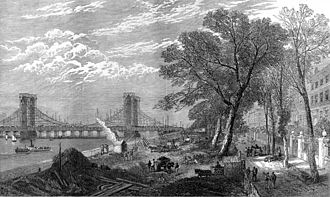 Albert Bridge, London - Chelsea Embankment and the Albert Bridge under construction, 1873