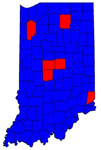 Indiana gubernatorial election, 1992 - Image: IN Sen Counties 04