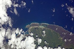 Satellite image showing Fagamalo and neibouring villages with reefs off the coast and lava fields to the east in Saleaula, Mauga and Samalae'ulu. (NASA photo)