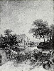 A Cascade, with a farm on the left