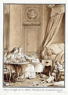 Dans une chambre un homme et une femme regardent des enfants jouer au pied d'un lit.