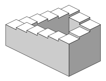 A staircase in a square format. The stairs make four 90-degree turns in each corner, so they are in the format of a continuous loop.