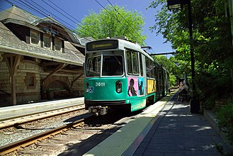 "Green Line ""D"" Branch - An inbound train at Newton Center station"