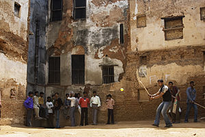Forms of cricket - Galli cricket in the Galli of the ancient Hindu holy city of Varanasi in India.