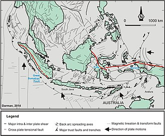 Geology of Indonesia - A simplified map of the geological structures of Indonesia.