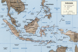 Map of Indonesia showing waters of the East In...