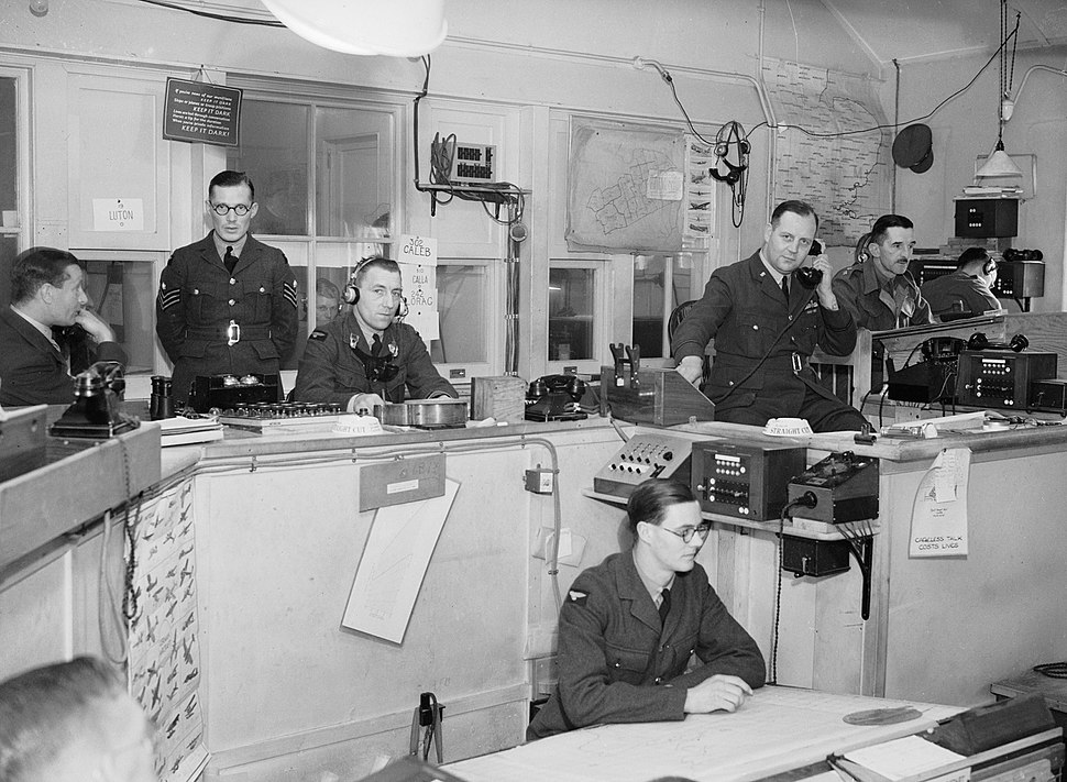 Interior of RAF Fighter Command%27s Sector %27G%27 Operations Room at Duxford, Cambridgeshire, September 1940. CH1401