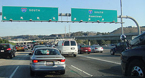 Interstate 805 - The beginning of I-805 south at I-5 during the evening rush hour